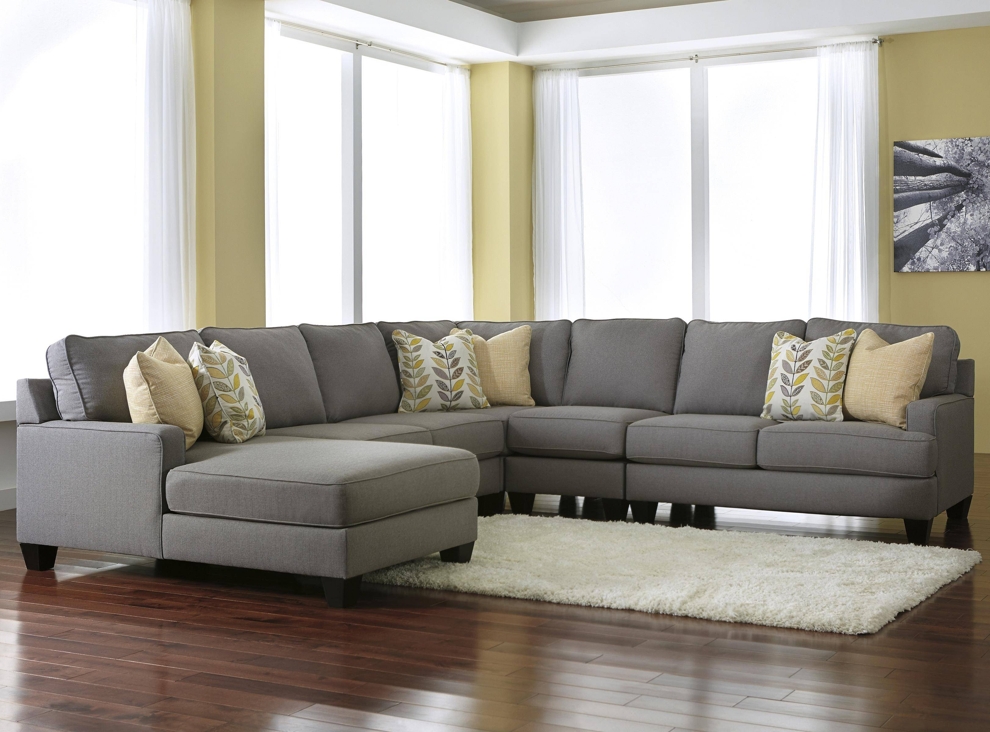 Modern 5-Piece Sectional Sofa With Left Chaise & Reversible Seat for Signature Design Sectional Sofas (Image 8 of 15)