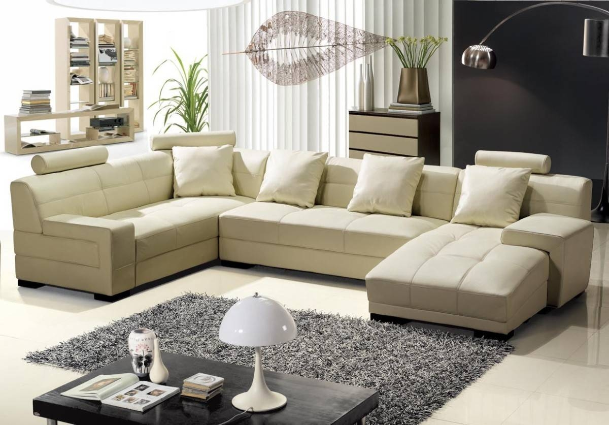 Modern Beige Leather Sectional Sofa in Beige Leather Couches (Image 10 of 15)