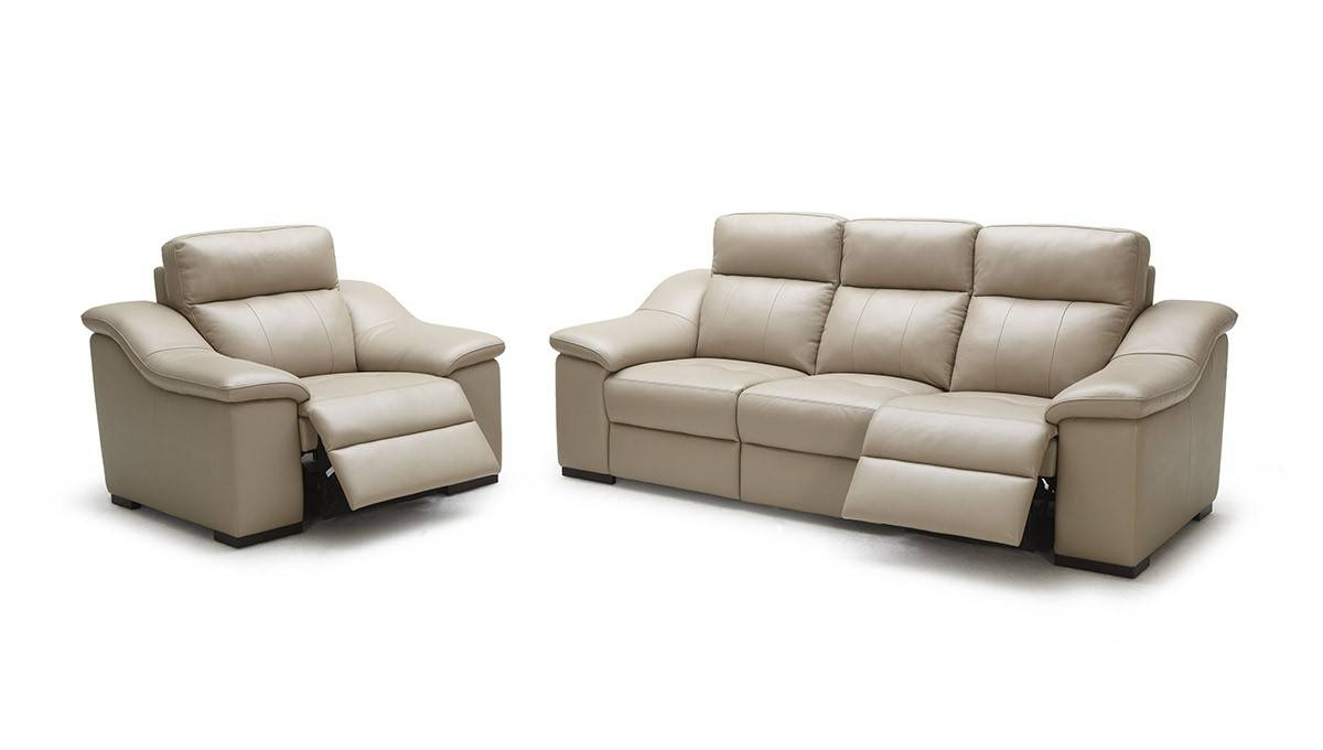 Modern Beige Leather Sofa Set pertaining to Beige Leather Couches (Image 11 of 15)