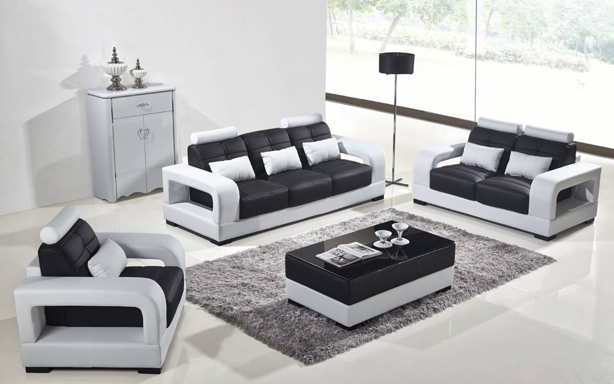 Modern Black And White Leather Sofa Set • Leather Sofa for Black and White Leather Sofas (Image 11 of 15)
