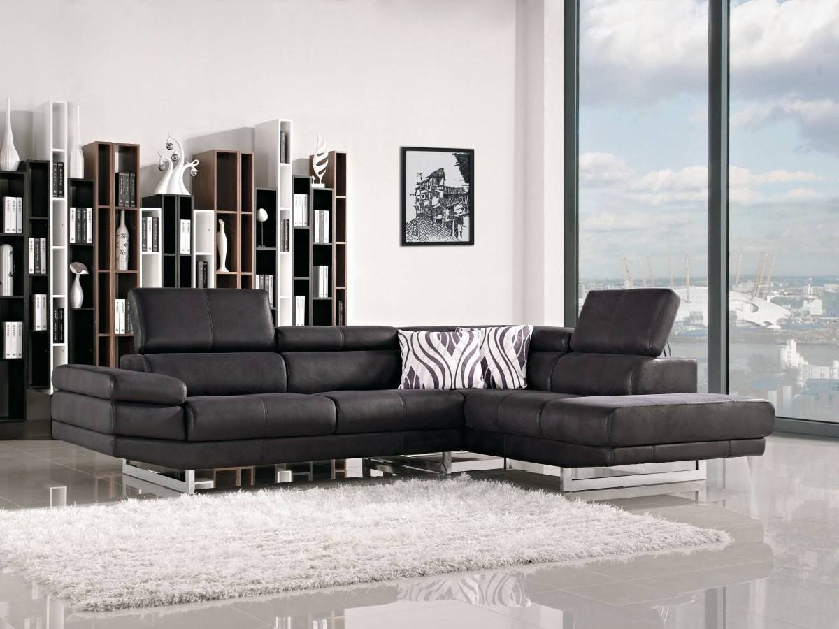 Modern Black Fabric Sectional Sofa with Black Modern Sectional Sofas (Image 6 of 15)