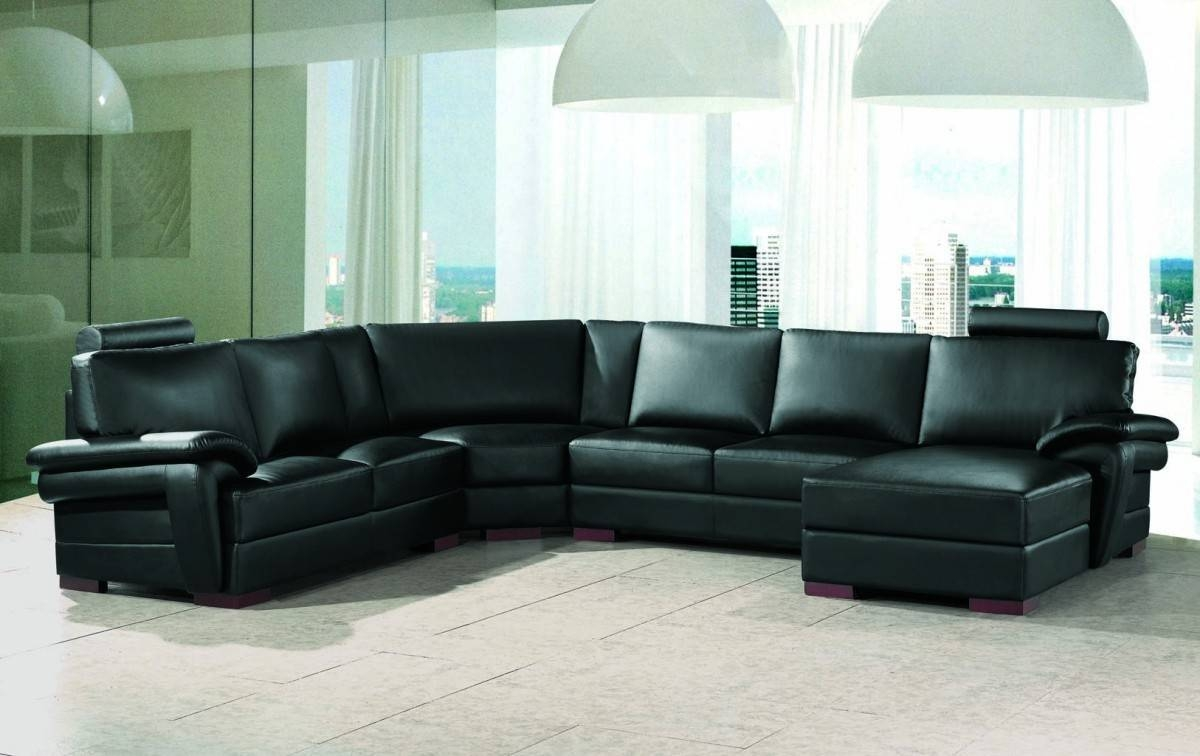 Modern Black Leather Sectional Sofa Trends - S3Net - Sectional throughout Black Modern Sectional Sofas (Image 10 of 15)