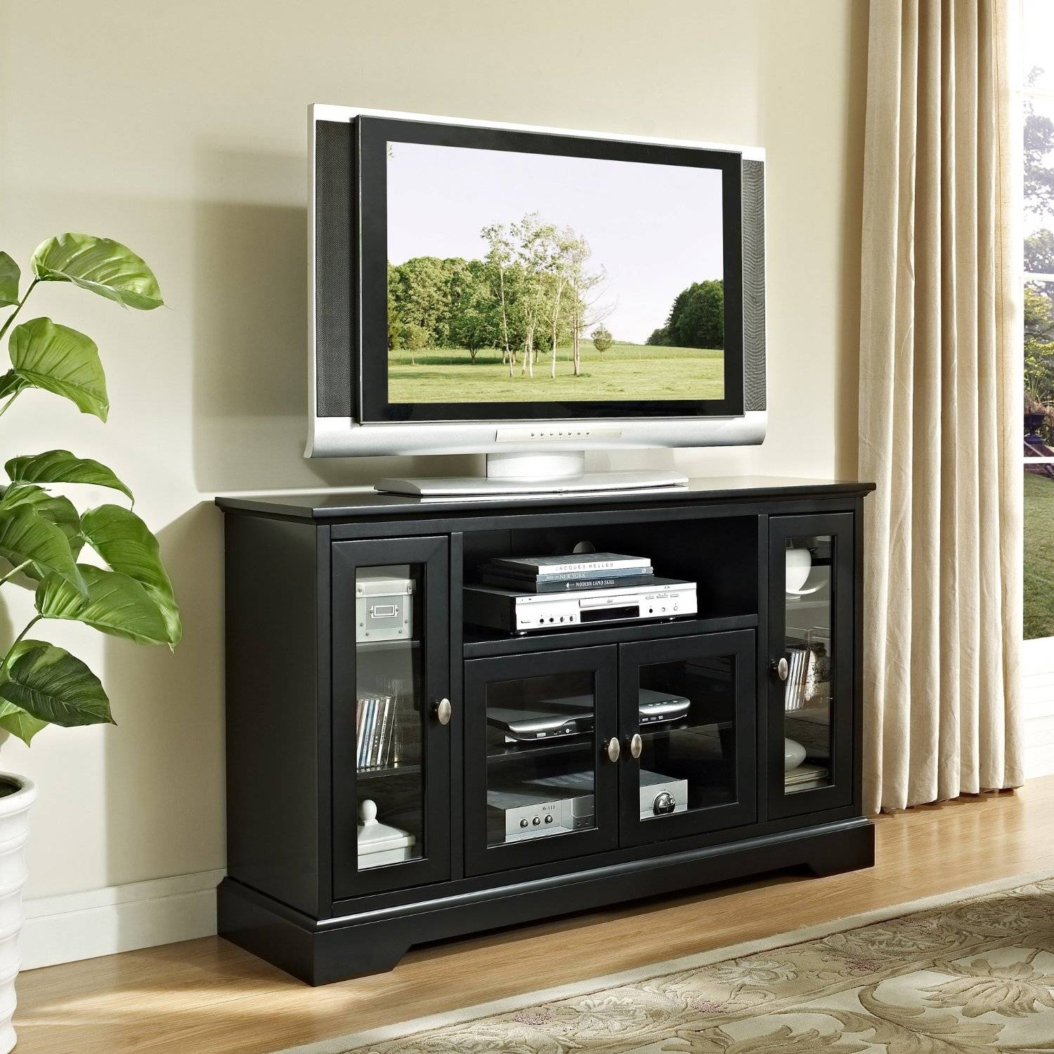 Modern Black Painted Mahogany Wood Media Stand With Glass Doors Of pertaining to Tall Black Tv Cabinets (Image 8 of 15)