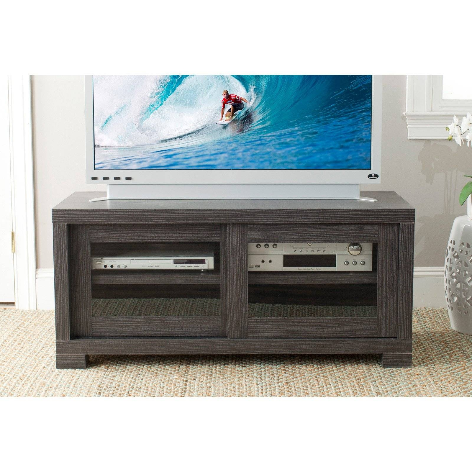 Modern Black Walnut Wood Tv Cabinet With Sliding Glass Doors Of in Wooden Tv Cabinets With Glass Doors (Image 10 of 15)