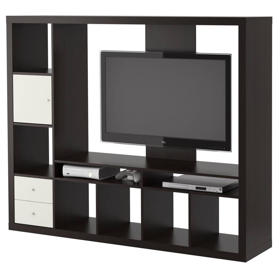 Modern Black Wooden Tv Cabinets With Rack For Wall Partition Intended For Stylish Tv Cabinets (View 14 of 15)