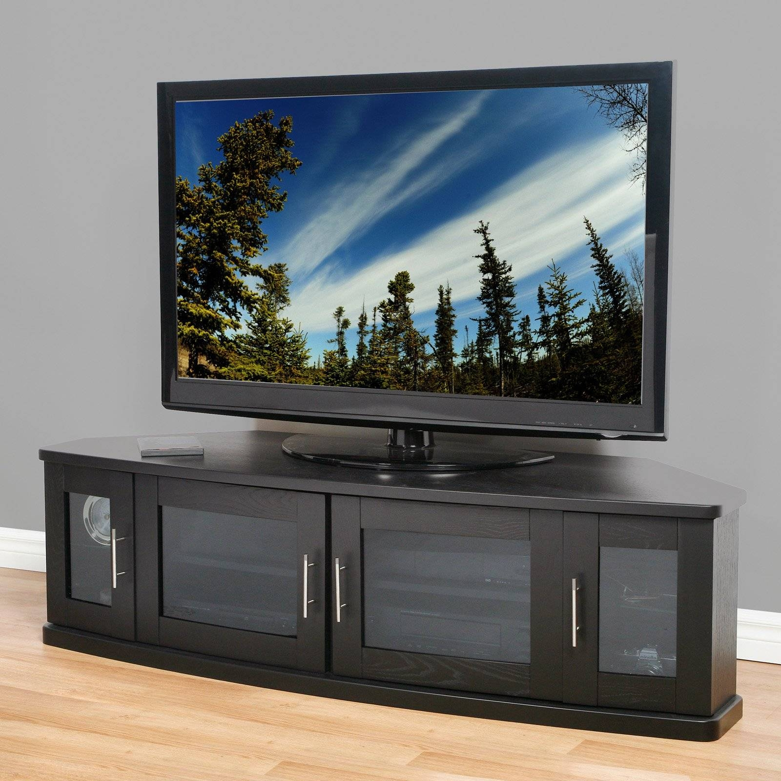 Modern Black Wooden Tv Stand With Frosted Glass Doors Of Dazzling for Corner Tv Unit With Glass Doors (Image 10 of 15)
