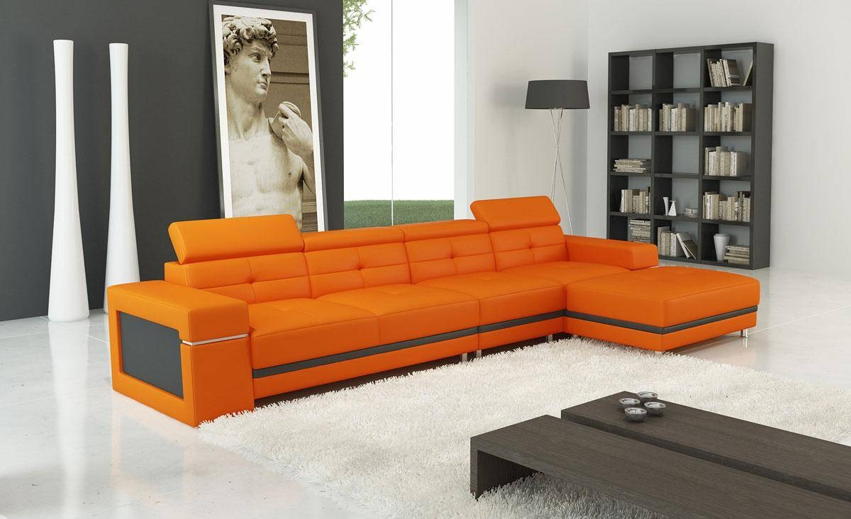 Modern Bonded Leather Sectional Sofa | Welcome To Decoreza Furniture intended for Orange Modern Sofas (Image 11 of 15)
