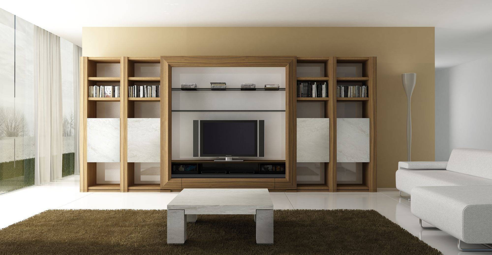 Modern Book Cabinet Design Furniture Living Room Gallery Including with On The Wall Tv Units (Image 7 of 15)
