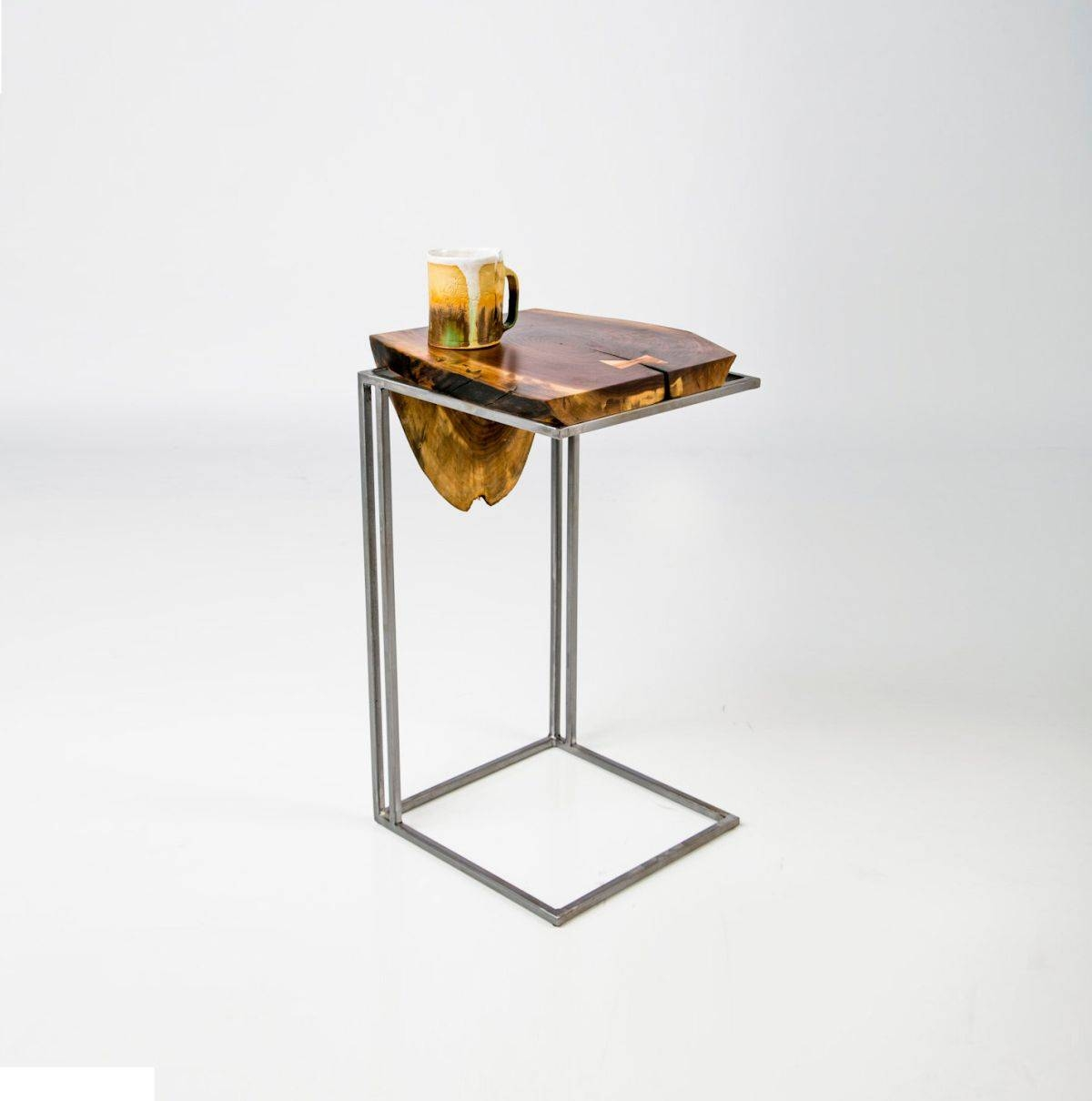 Modern C Tv Tray Table With Solid Wooden Top And Metal Stand Ideas within Folding Tv Trays With Stand (Image 7 of 15)