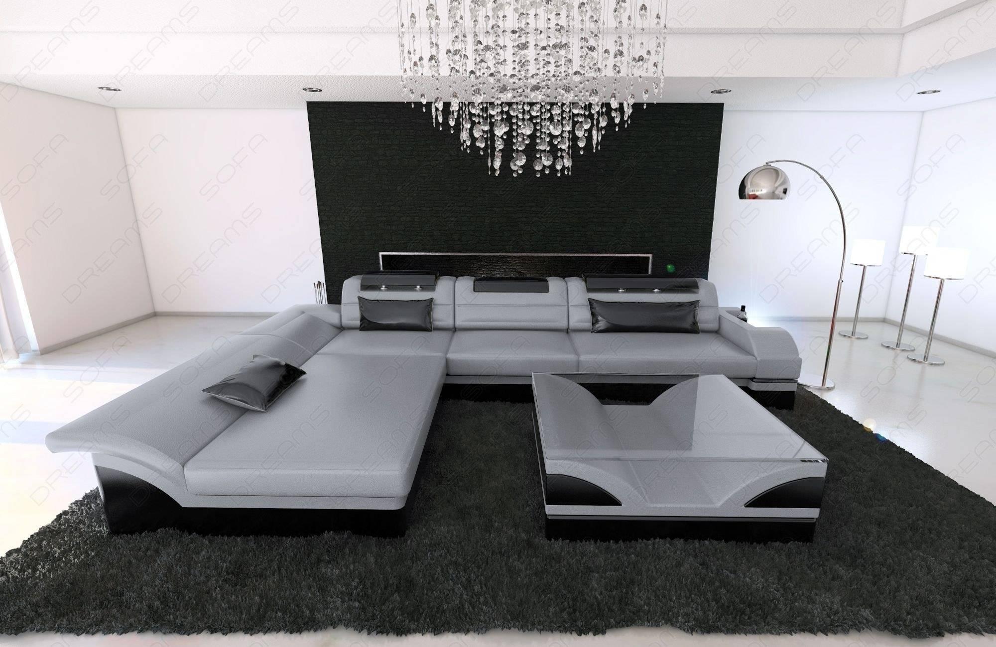 Modern Corner Sofa Chicago Led L- Shaped pertaining to Black Corner Sofas (Image 12 of 15)