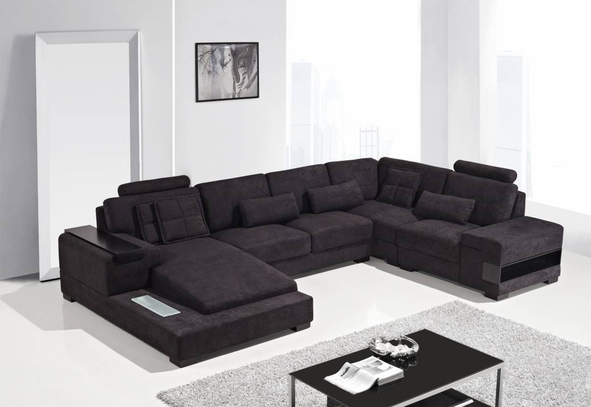 Modern Fabric Sectional Sofa intended for Black Modern Sectional Sofas (Image 11 of 15)