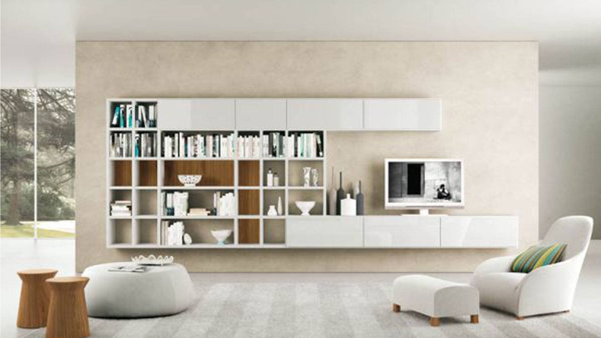 Modern Foot Stoolliving Room Tv Cabinets, Comfortable Living Room In Scandinavian Design Tv Cabinets (View 11 of 15)