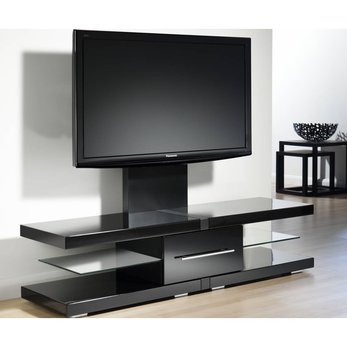Modern Glossy Black Flat Screen Tv Stand With Mount And Glass Within Long Black Tv Stands (View 10 of 15)