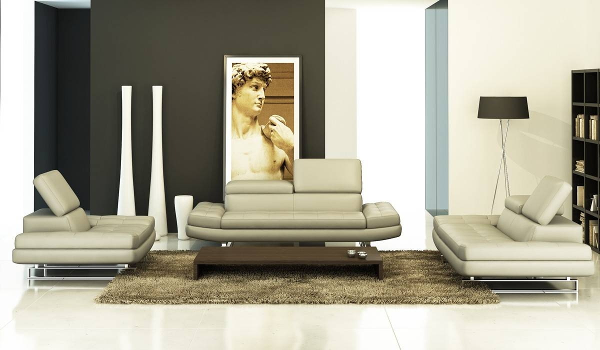 Modern Grey Italian Leather Sofa Set intended for Italian Leather Sofas (Image 7 of 15)