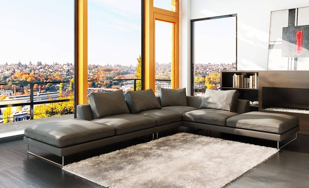 Modern Grey Leather Sectional Sofa with regard to Low Height Sofas (Image 10 of 15)