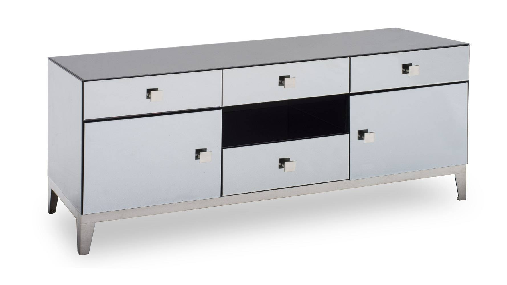 Modern Grey Mirrored Glass Berlin Tv Stand | Zuri Furniture intended for Mirrored Tv Cabinets (Image 7 of 15)
