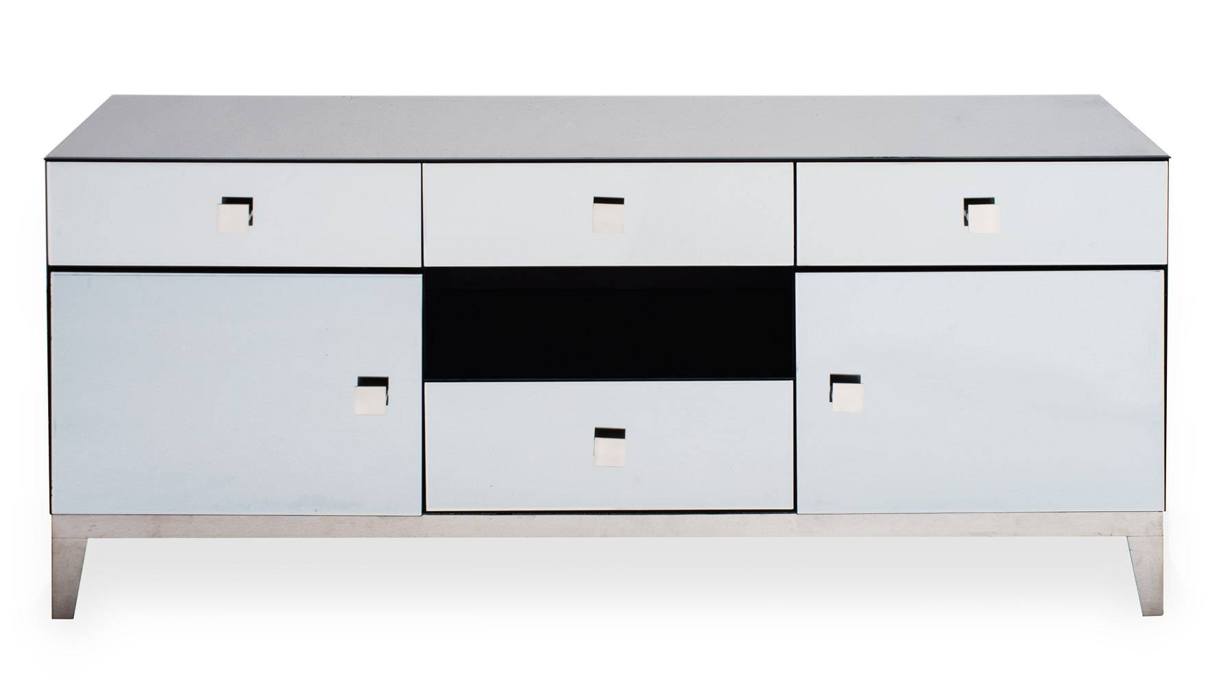 Modern Grey Mirrored Glass Berlin Tv Stand | Zuri Furniture throughout Mirrored Tv Stands (Image 10 of 15)