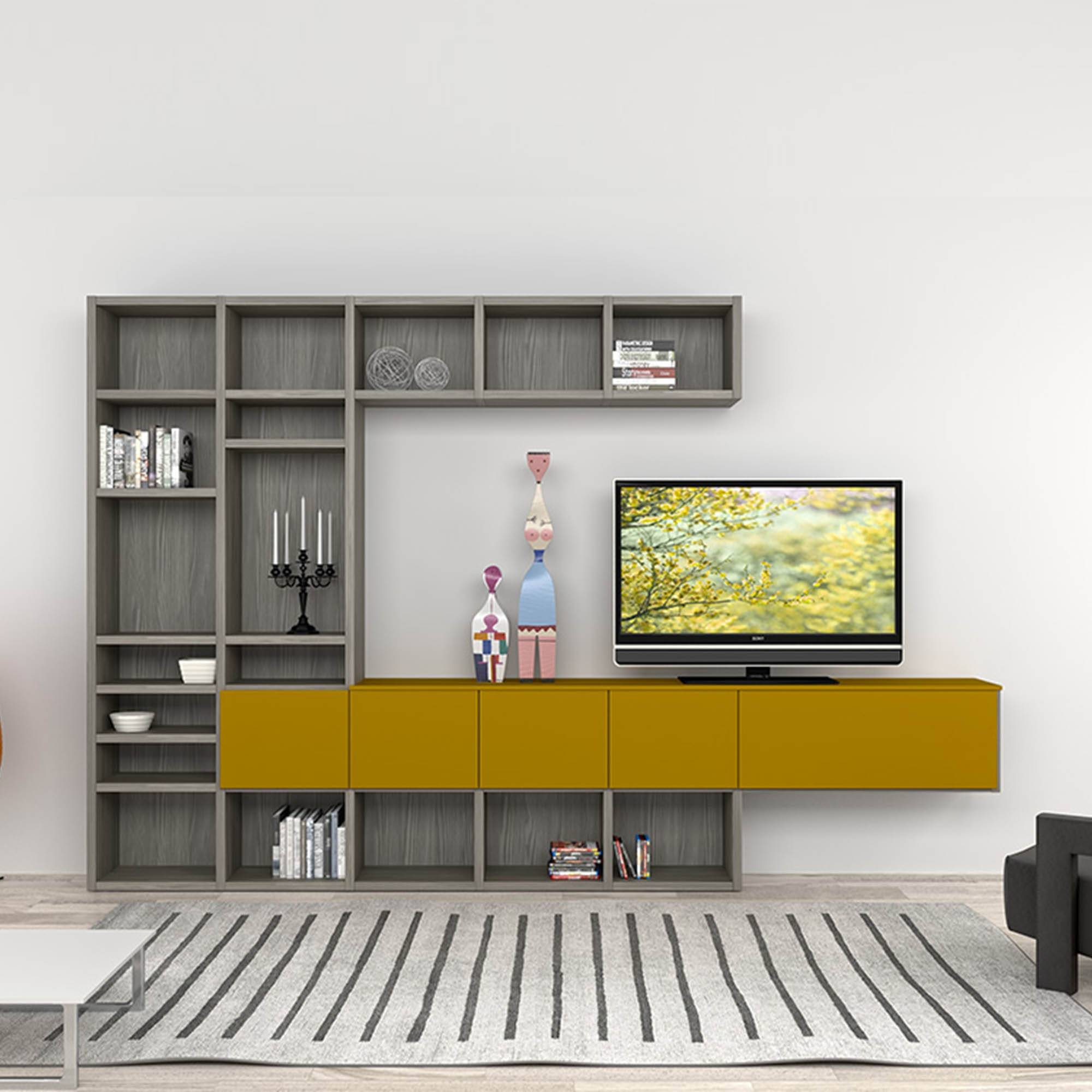 Modern Italian Tv Stand In Composition Of Grey And Mustard Colours Inside Stylish Tv Cabinets (View 9 of 15)