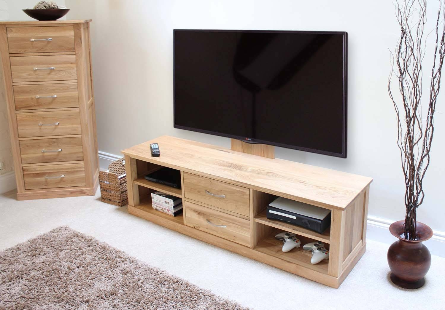 Modern Light Oak Tv Units | Buy Online At Zurleys regarding Light Oak Tv Cabinets (Image 8 of 15)