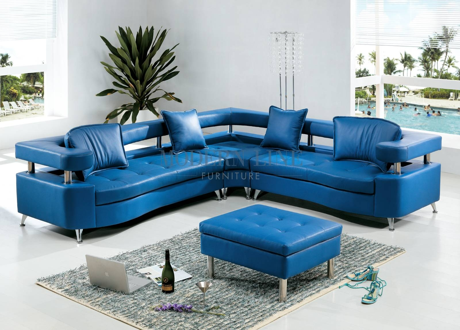 Modern Line Furniture - Commercial Furniture - Custom Made in Blue Leather Sectional Sofas (Image 9 of 15)