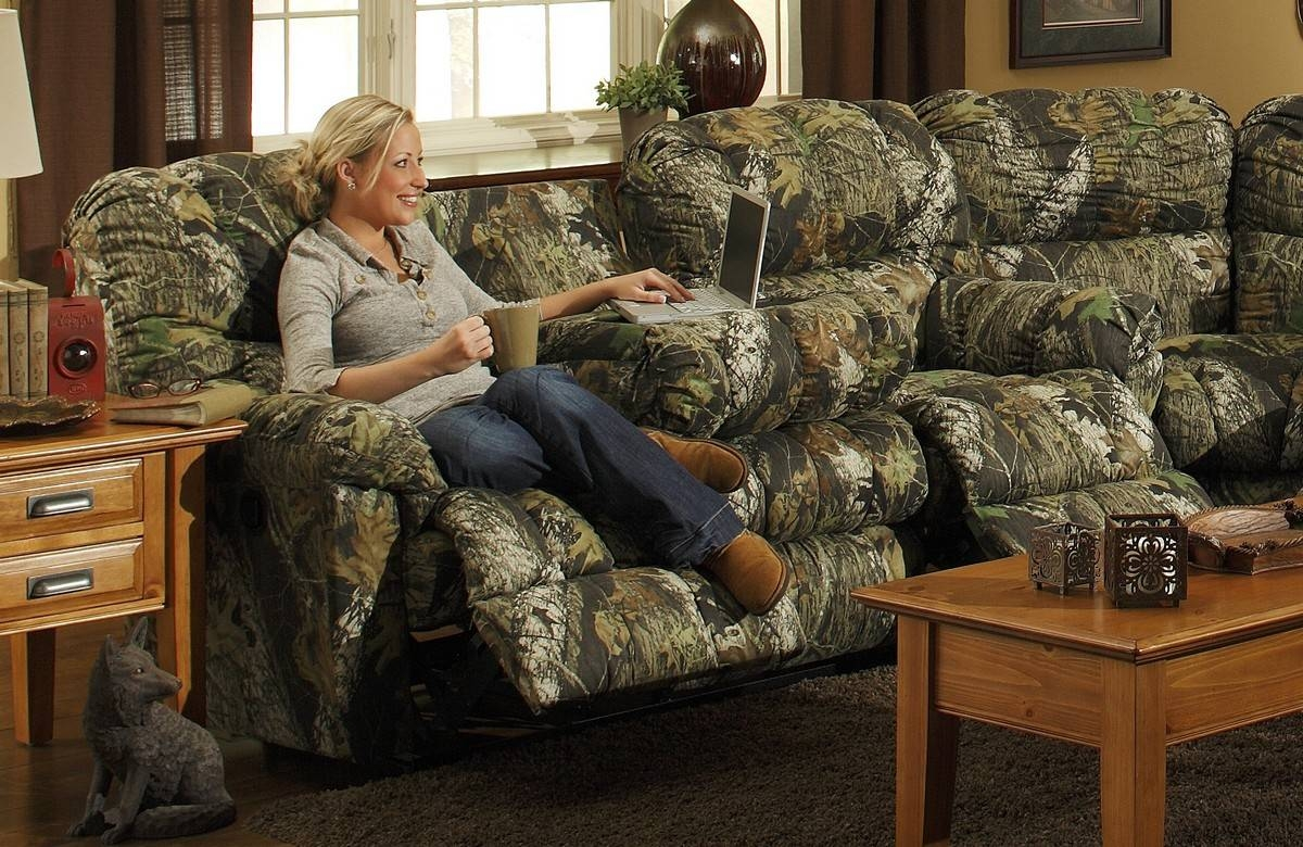 Modern Living Room Area With Green Littleton Reclining Camo Couch with regard to Camo Reclining Sofas (Image 13 of 15)