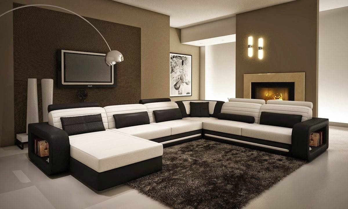 Modern Living Room Design With Black And White Leather U Shaped within Sofas Black and White Colors (Image 13 of 15)
