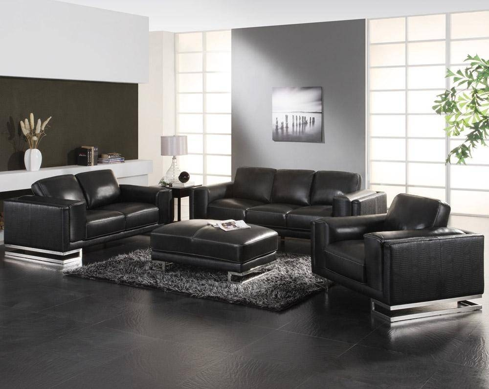 Modern Living Room Ideas With Black Leather Sofa : Cabinet pertaining to Black Sofas Decors (Image 15 of 15)