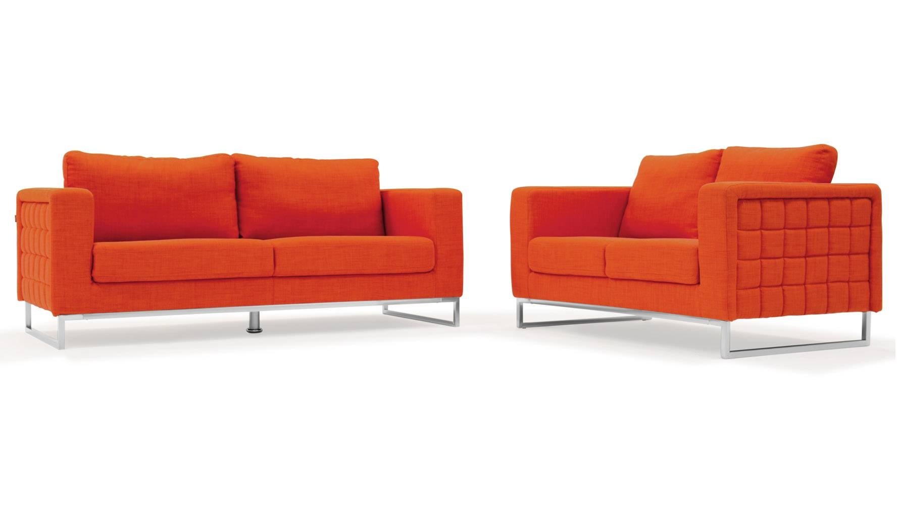 Modern Orange Fabric Upholstered 2 Piece Sofa Set With Stainless with Orange Modern Sofas (Image 12 of 15)