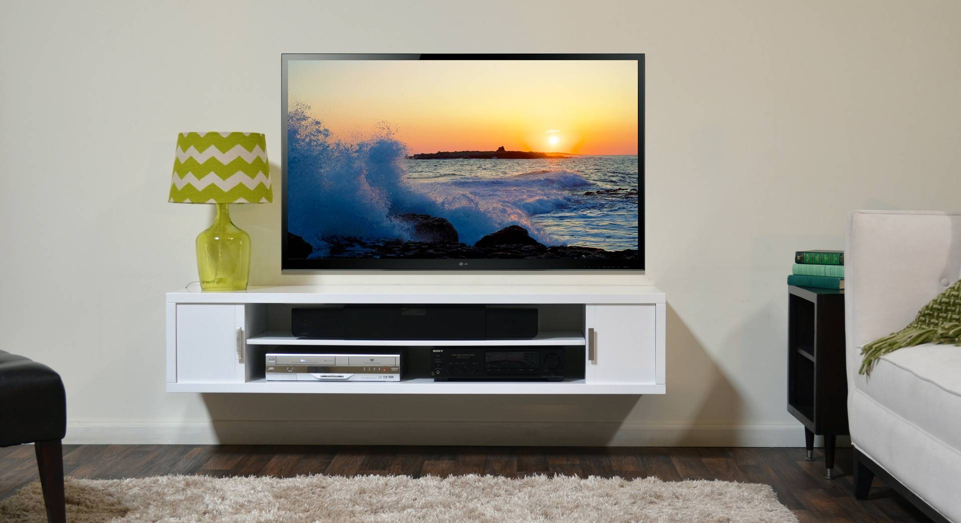 Modern Rectangle White Stained Wood Wall Mounted Tv Cabinet With Within White Wall Mounted Tv Stands (View 2 of 15)