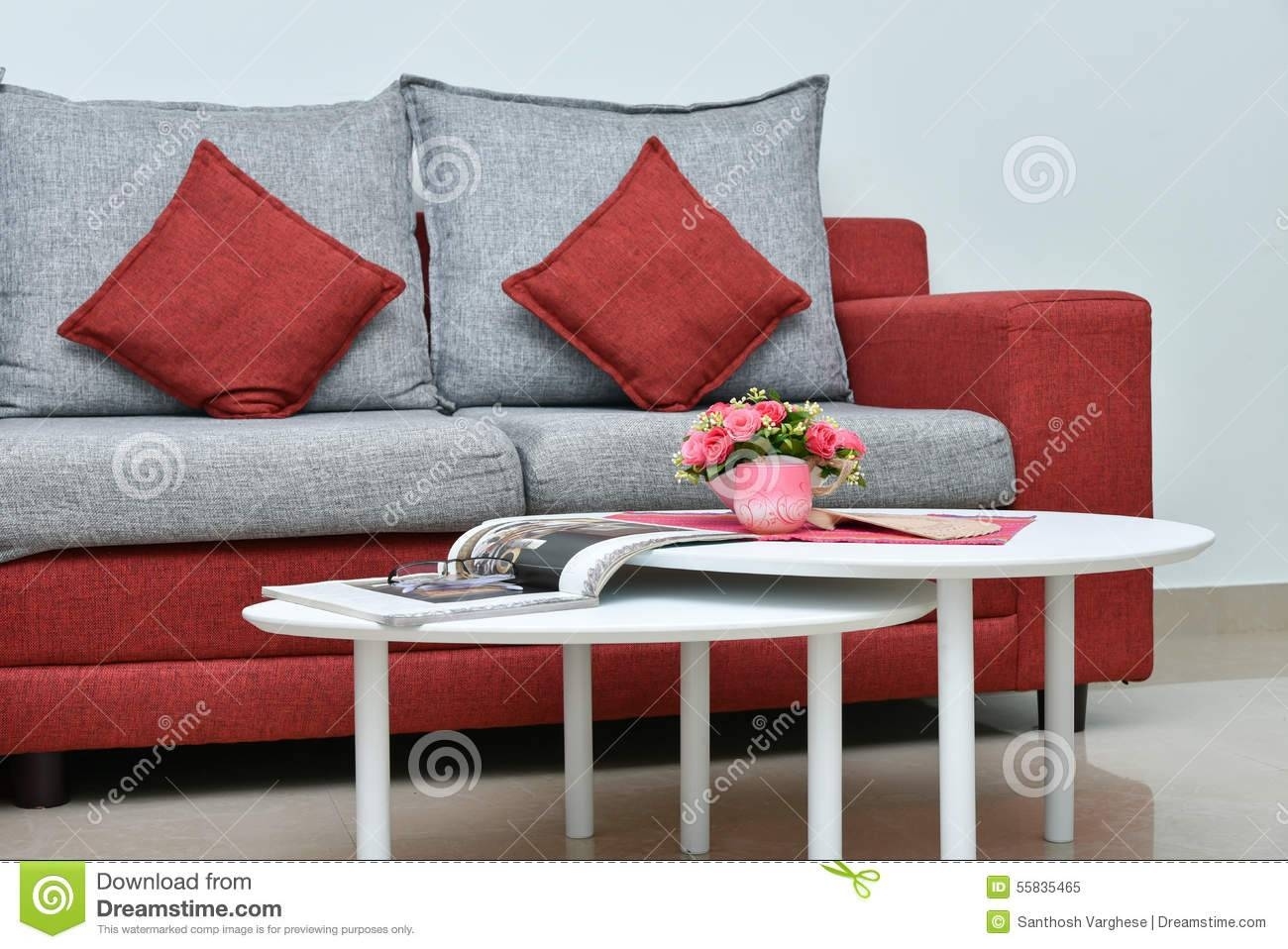 Modern Red And Grey Sofa In Living Room Interior Stock Photo regarding Red Sofa Tables (Image 3 of 15)