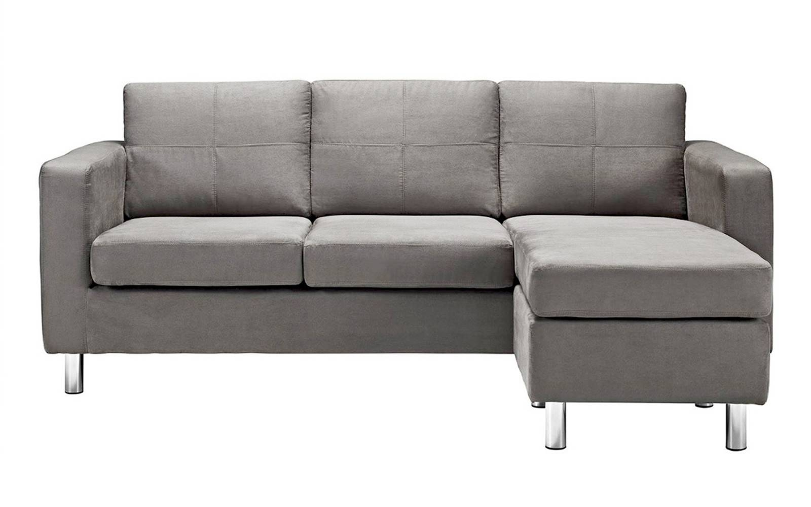 Modern Reversible Small Space Configurable Microfiber Sectional with regard to Modern Small Sectional Sofas (Image 8 of 15)