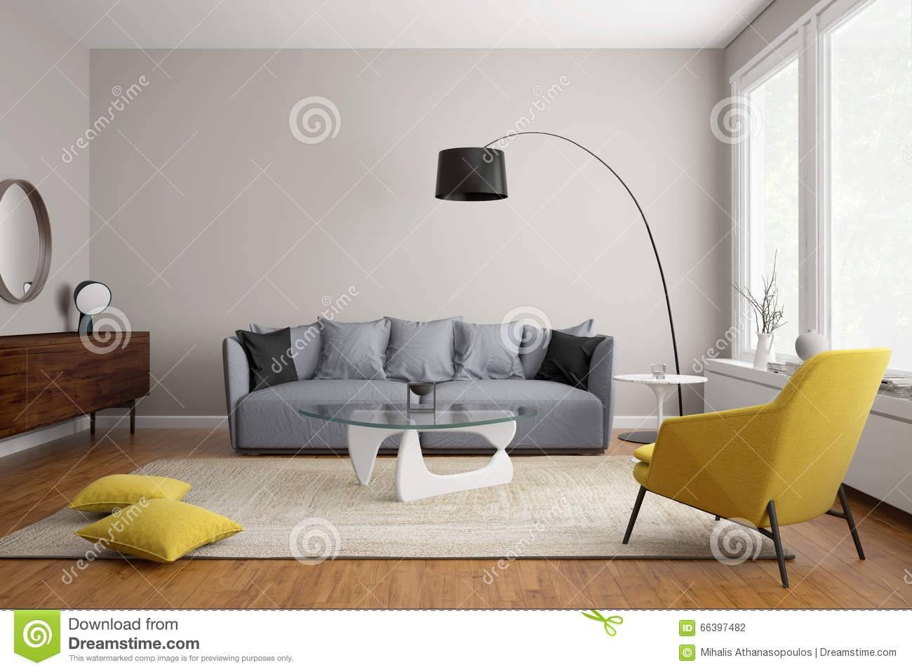 Modern Scandinavian Living Room With Grey Sofa Stock Illustration intended for Living Room With Grey Sofas (Image 15 of 15)