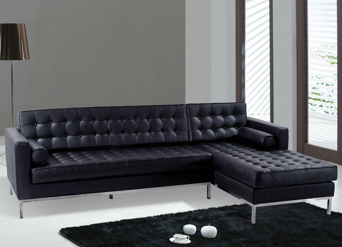 Modern Style Black Leather Contemporary Sofa With Sofas Modern pertaining to Black Modern Sectional Sofas (Image 13 of 15)