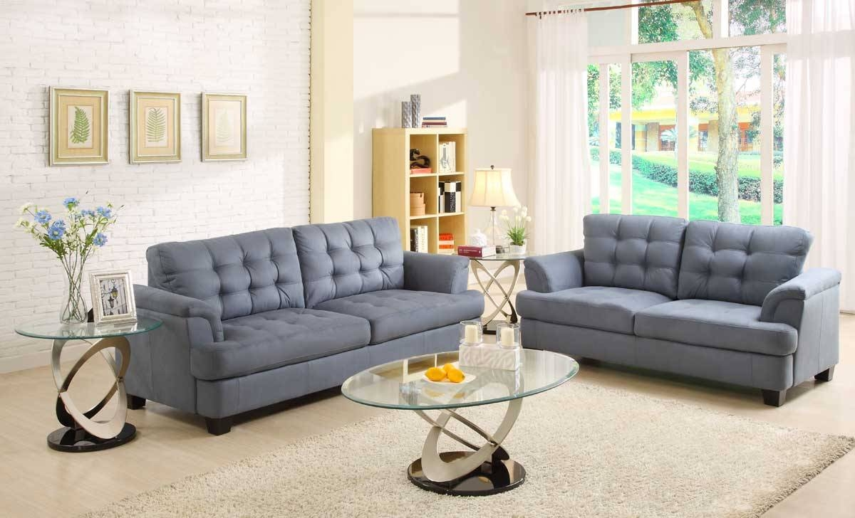 Modern Style Blue Gray Sofa And Homelegance St Charles Sofa Set within Blue Grey Sofas (Image 14 of 15)