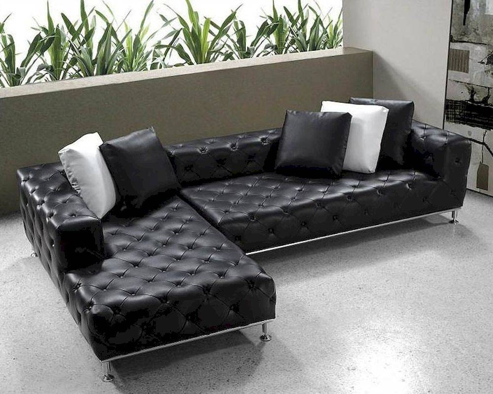 Modern Tufted Leather Sectional Sofa Set 44L0687 regarding Black Modern Sectional Sofas (Image 14 of 15)