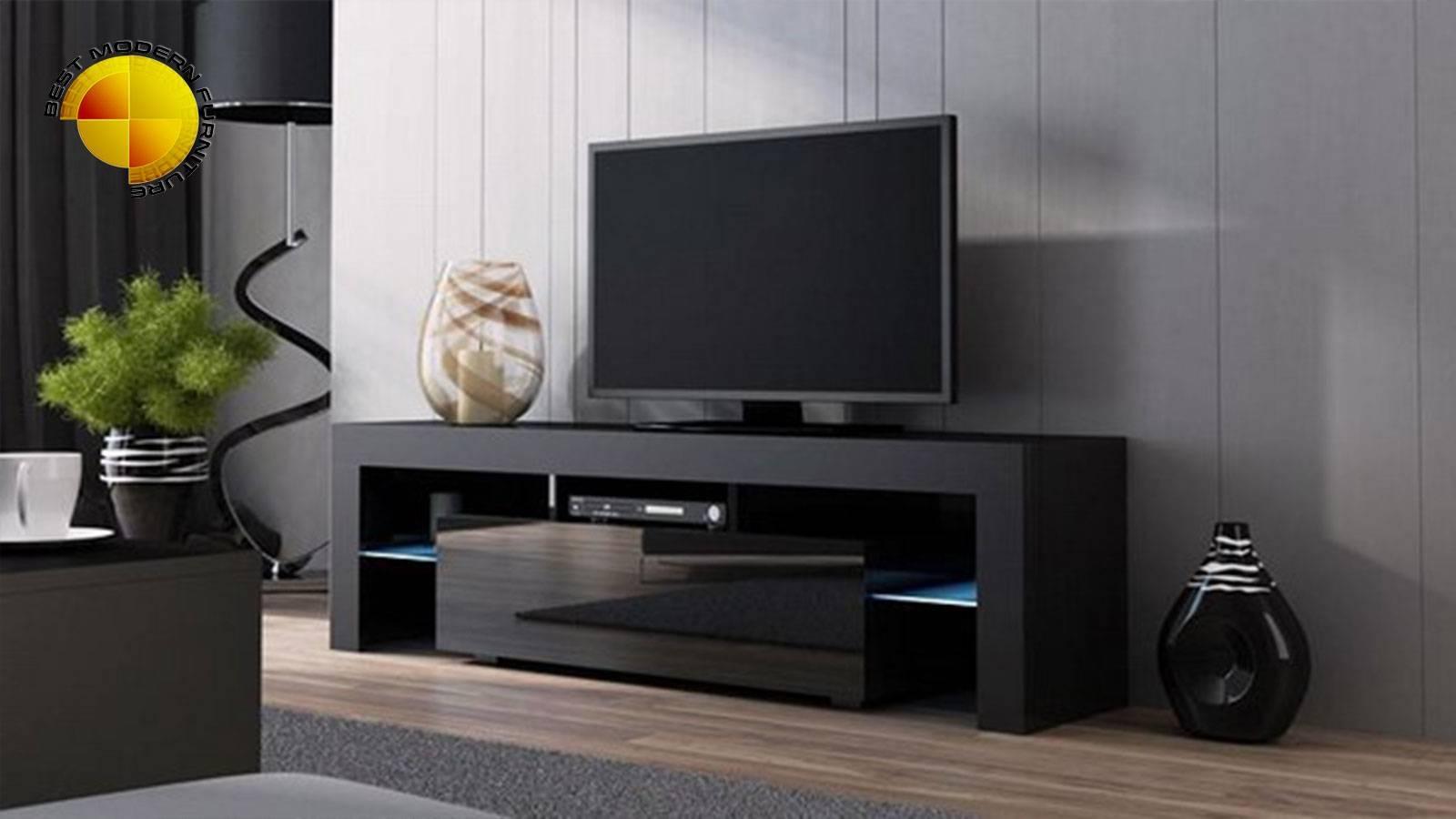 Modern Tv Stand 160cm High Gloss Cabinet Rgb Led Lights Black Unit Regarding High Gloss White Tv Stands (View 15 of 15)