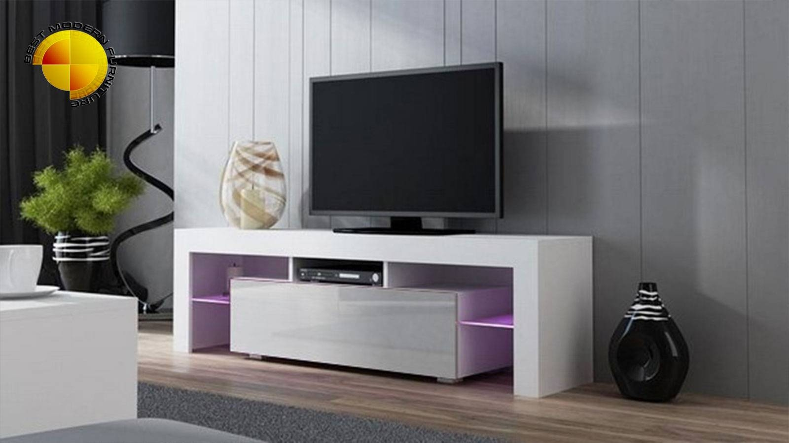 Modern Tv Stand 160cm High Gloss Cabinet Rgb Led Lights White Unit Regarding High Gloss White Tv Stands (View 8 of 15)