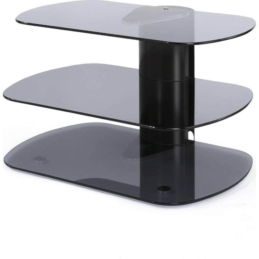 Modern Tv Stand 3 Shelf Glass Platform Display Storage throughout Slimline Tv Cabinets (Image 4 of 15)