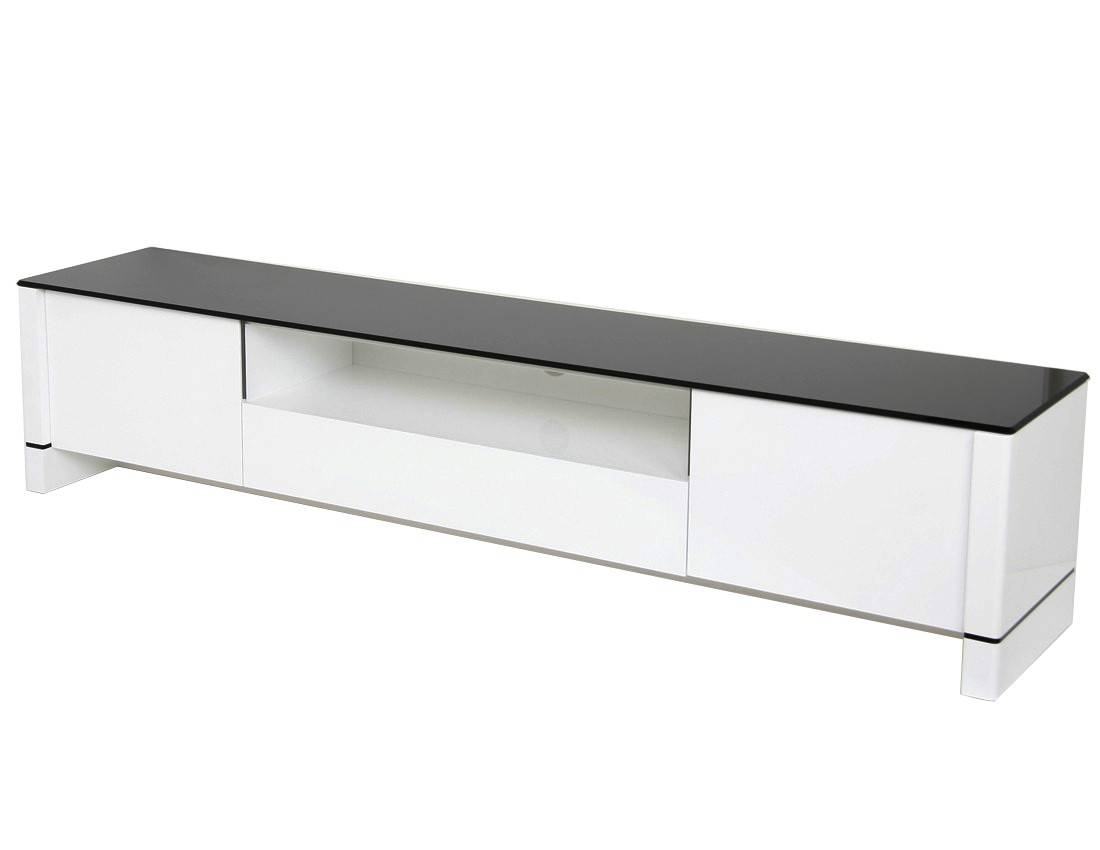 Modern Tv Stand - White With Black Glass pertaining to Long Low Tv Stands (Image 7 of 15)