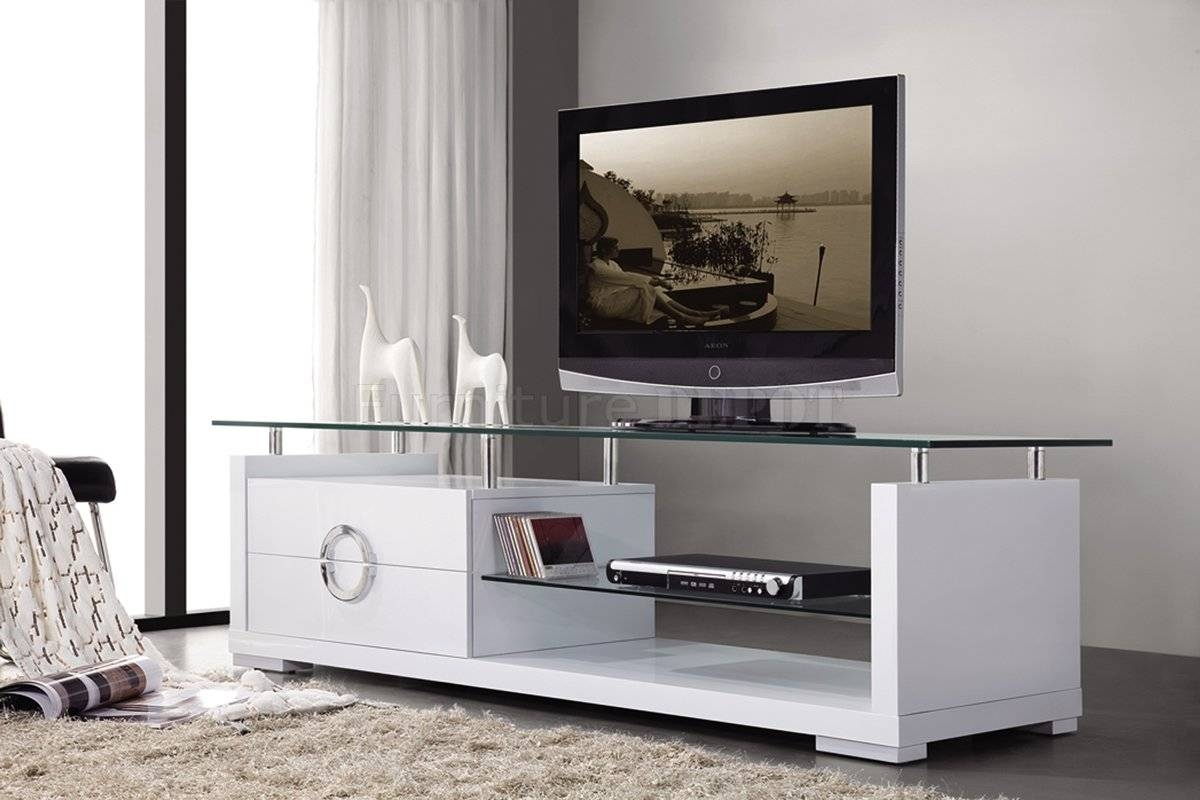 Modern Tv Stands With Glass Top Within White Modern Tv Stands (View 9 of 15)