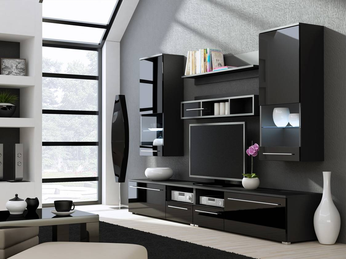 Modern Wall Units , Wall Shelving Units , Tv Stands , High Gloss in Black Gloss Tv Wall Unit (Image 7 of 15)