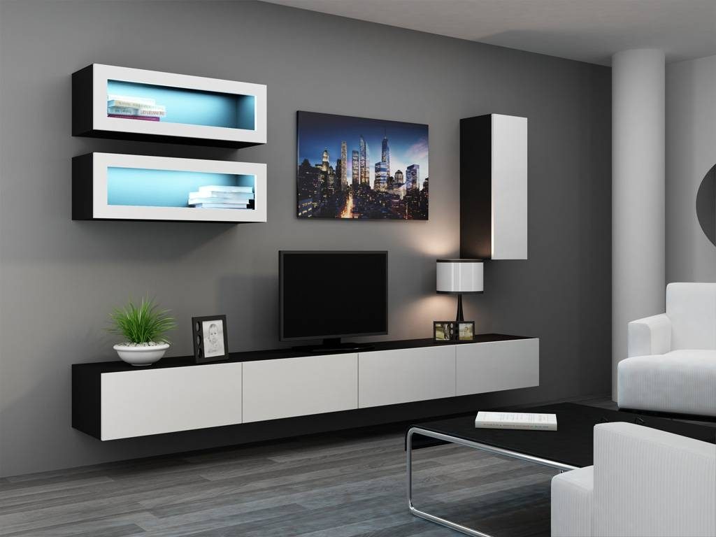 Modern Wall Units , Wall Shelving Units , Tv Stands , High Gloss regarding Black Gloss Tv Wall Unit (Image 8 of 15)
