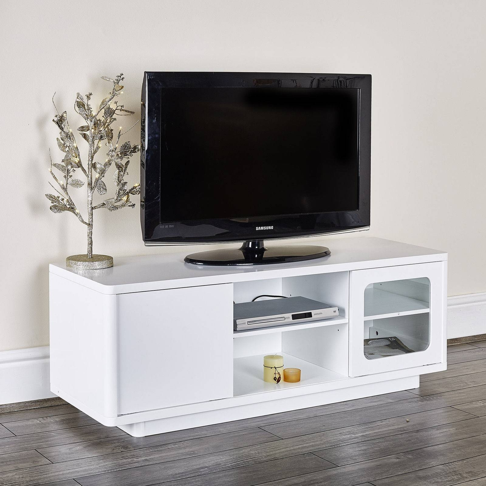 Modern White Tv Entertainment Unit Abreo Home Furniture throughout Tv Entertainment Unit (Image 4 of 15)
