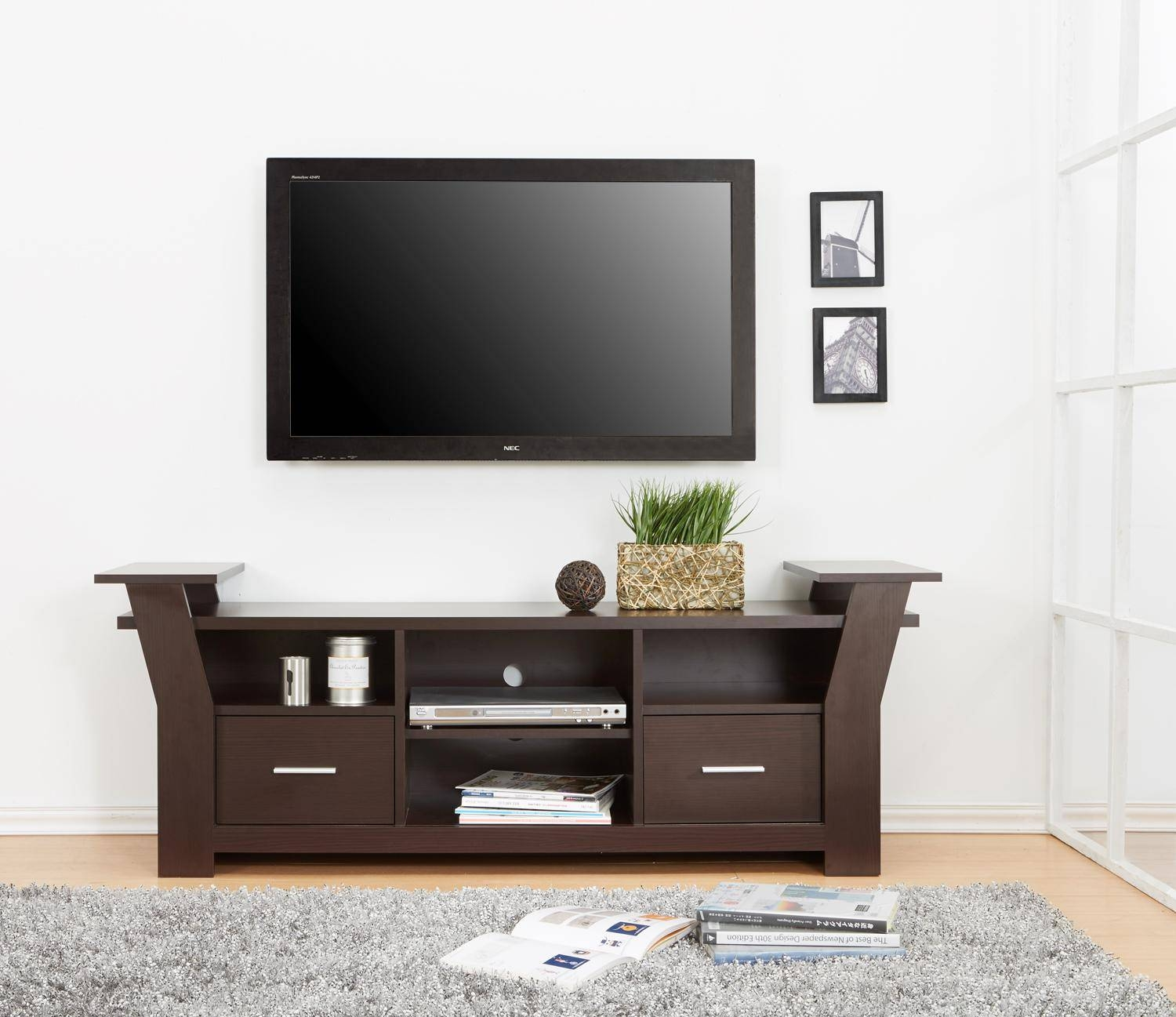 Modern Wooden Tv Stand With Storage Two Drawers And Four Shelves With Regard To Tv Stands With Drawers And Shelves (View 2 of 15)