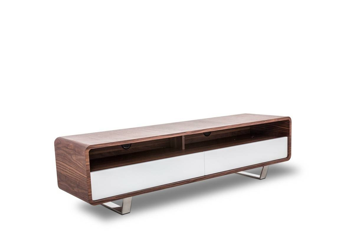 Modrest Avis Modern Tv Stand In Walnut & White | Free Shipping in Modern Walnut Tv Stands (Image 9 of 15)