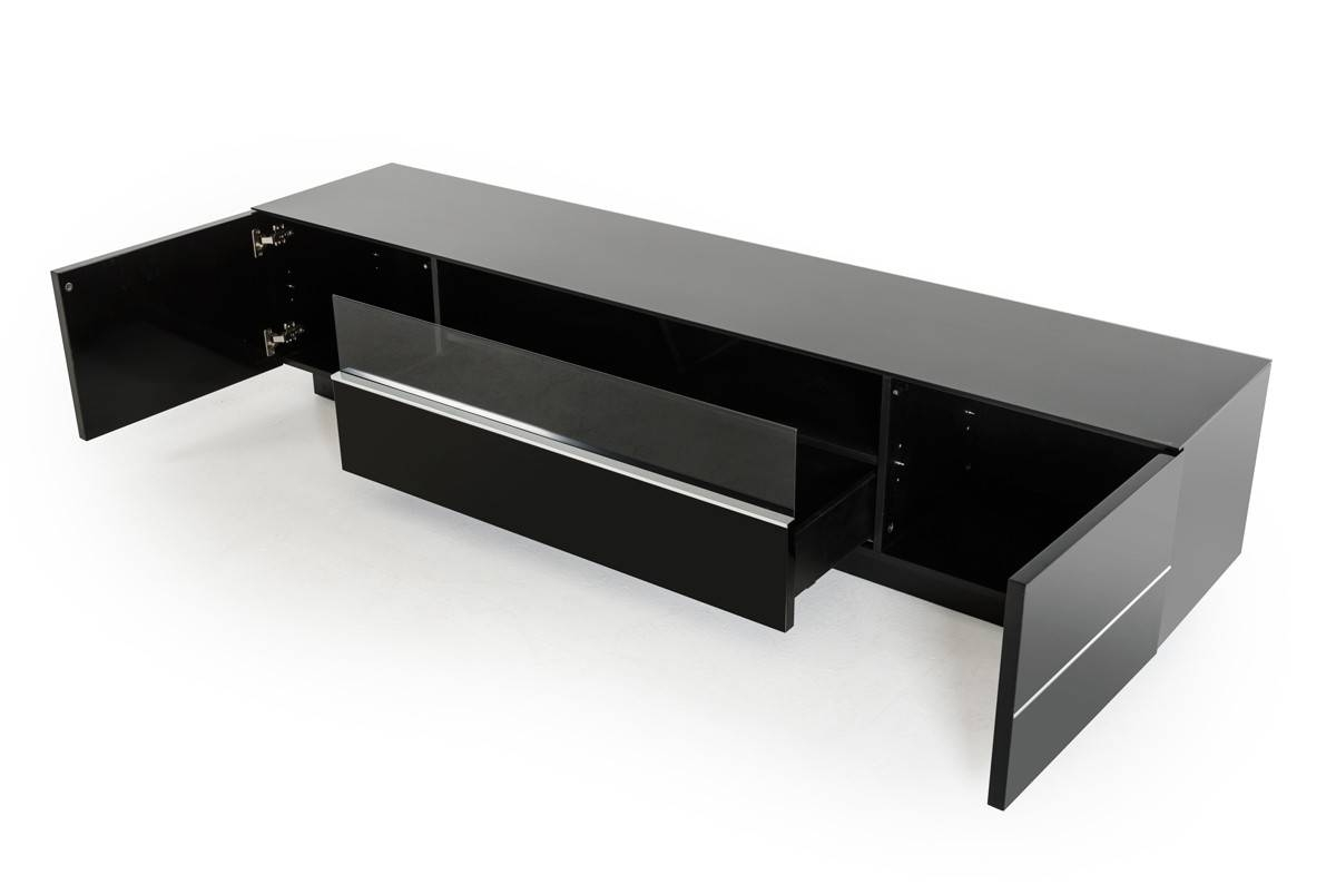 Modrest Caeden Contemporary Black High Gloss Tv Stand in Shiny Black Tv Stands (Image 9 of 15)