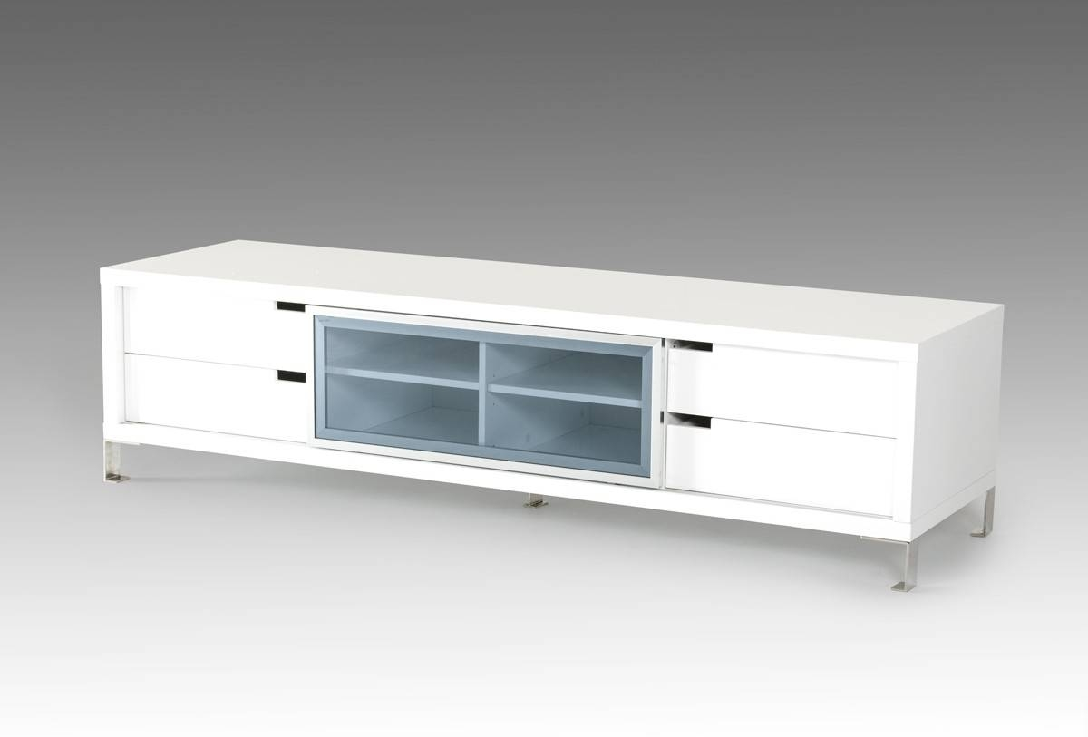 Modrest Edward Modern White Tv Stand with regard to Modern White Lacquer Tv Stands (Image 13 of 15)
