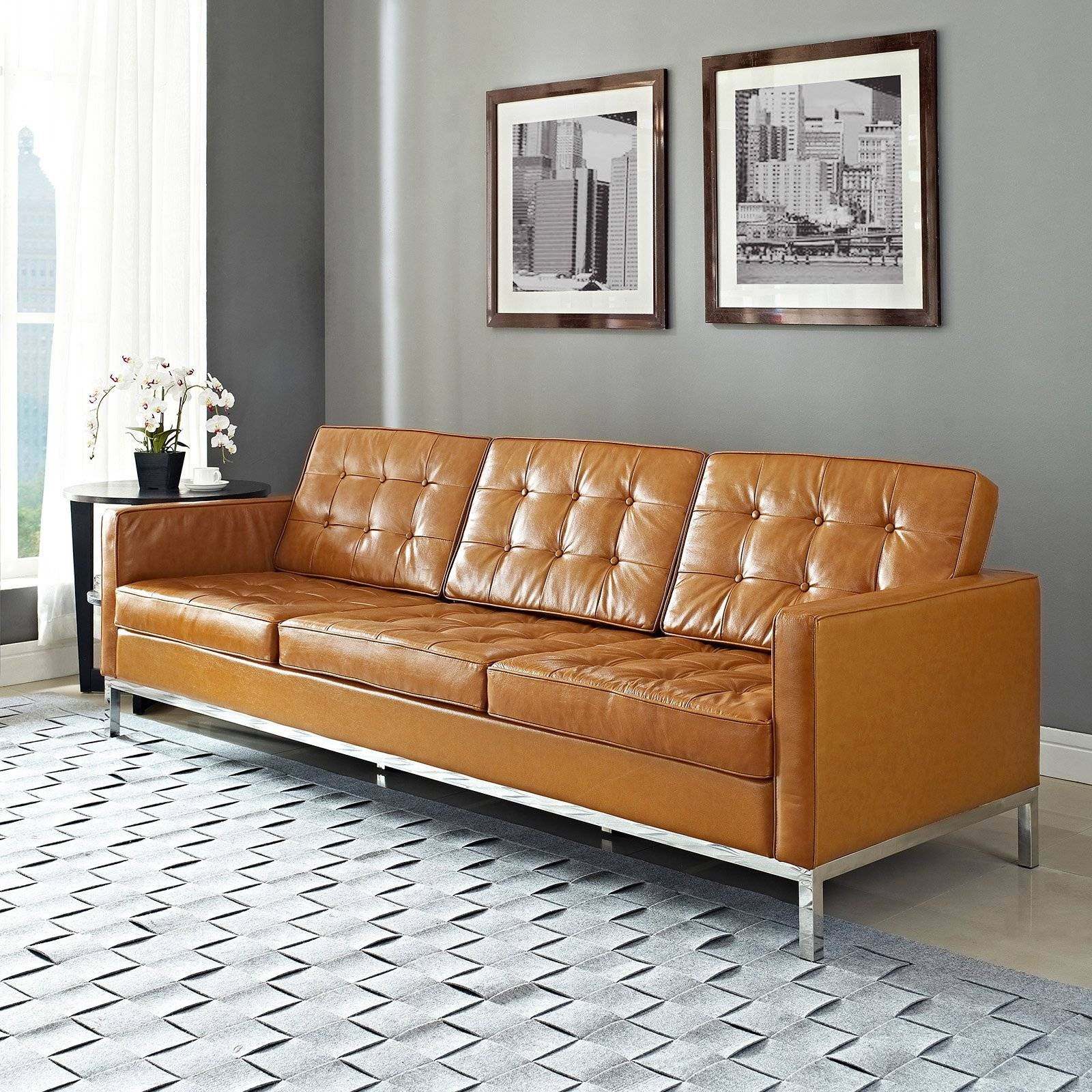 Modway Loft Leather Sofa | Hayneedle for Caramel Leather Sofas (Image 11 of 15)