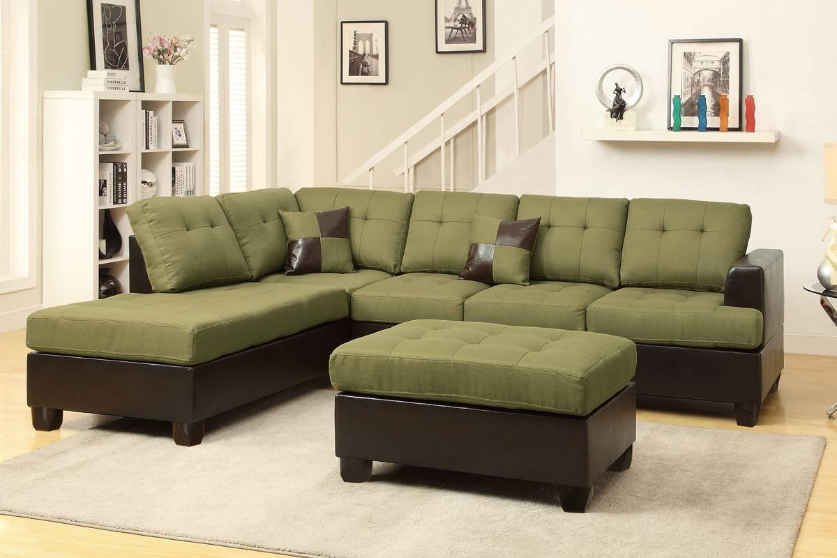 Moss Green Leather Sectional Sofa And Ottoman - Steal-A-Sofa with Poundex Sofas (Image 8 of 15)