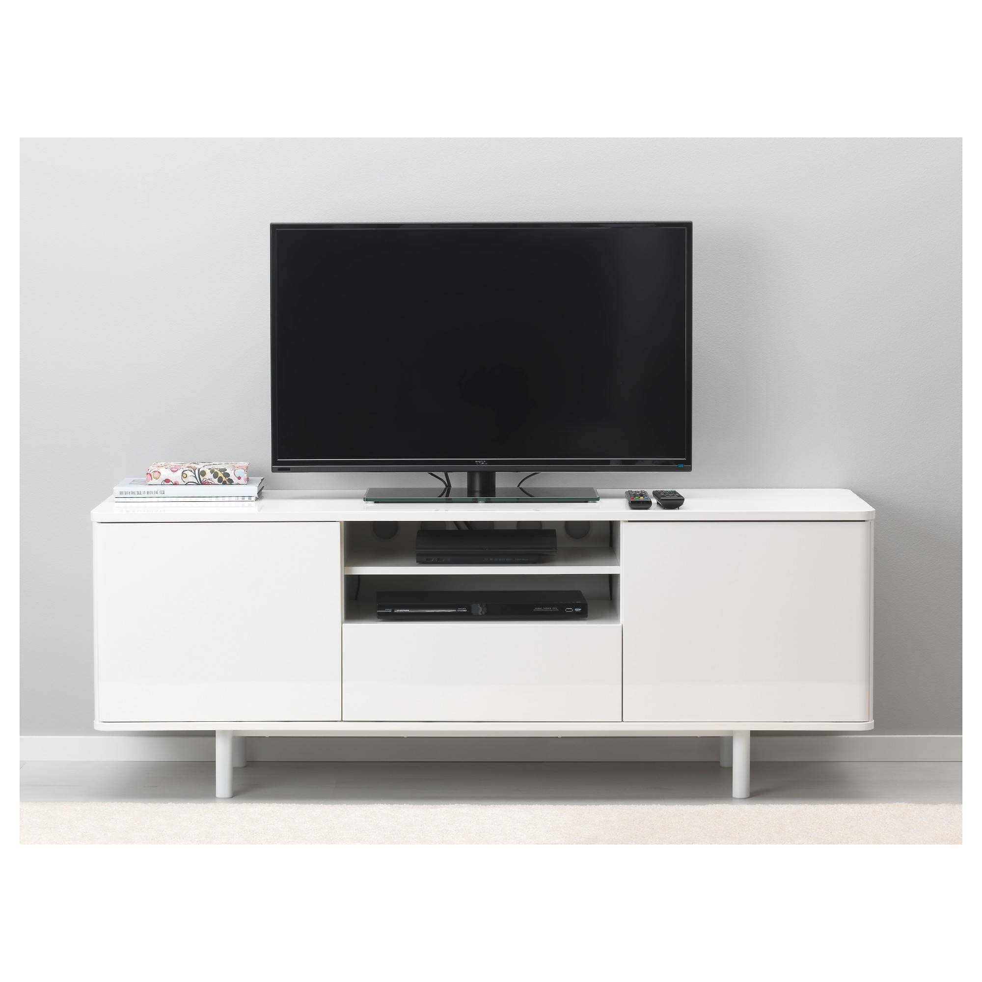 Mostorp Tv Bench White 159X46 Cm - Ikea inside Tv Drawer Units (Image 9 of 15)